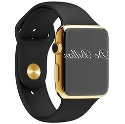 24K Gold Plated 42MM Apple Watch SERIES 3 with Black Sport B