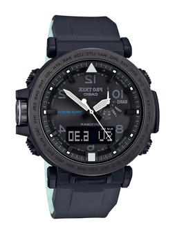 Casio Men's 'PRO TREK' Solar Powered Silicone Watch, Color:B