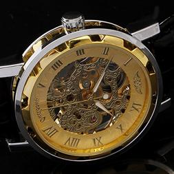 Classic Men's Leather Gold Dial Skeleton Hand-Winding Mechan