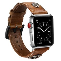 Leotop Compatible with Apple Watch Band 42mm, Genuine Leathe