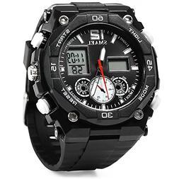 Men's Wrist Watches,TOPCHANCES Sports Watch Round Dial Rubbe
