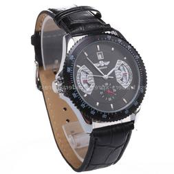 Winner Black Automatic Auto Mechanical Date Mens Black Leath