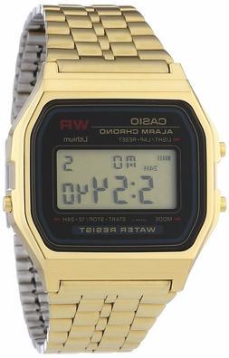 Casio A159WGEA-1 Mens Gold Tone Stainless Steel Digital Watc