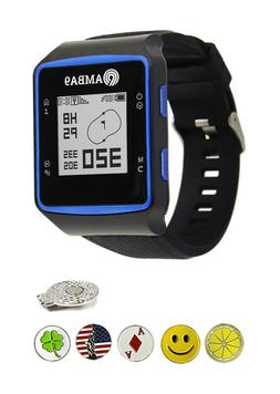 Amba9 GPS Golf Watch or Bundle with 5 Ball Markers, Hat Clip