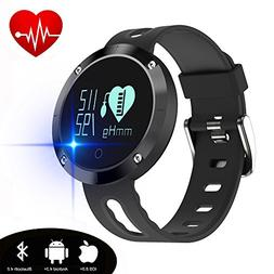 kingkok Blood Pressure Heart Rate Monitor Step Counter Watch