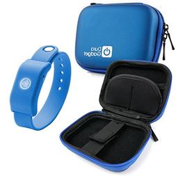 DURAGADGET Blue Hard EVA Shell Case with Carabiner Clip & Tw