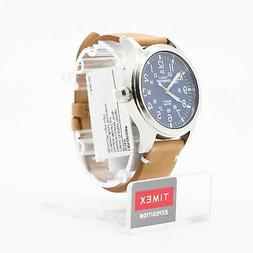 Timex Expedition Scout - Brown Leather Strap Blue Dial Date