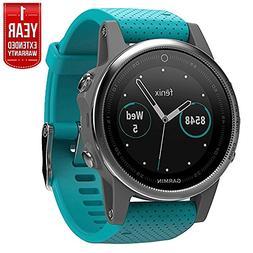 Garmin Fenix 5S Multisport 42mm GPS Watch - Silver with Turq
