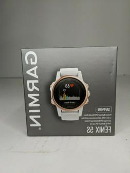 Garmin Fenix 5S Sapphire GPS Watch, Rose Gold w/ Carrara Whi