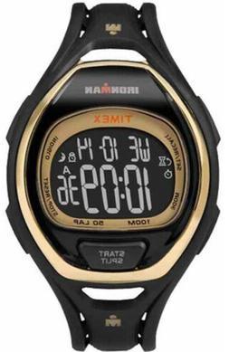 Timex Ironman Sleek 50 Lap Recall Black/Gold Full-Size Sport