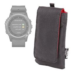 DURAGADGET Jet Black Cushioned SmartWatch Case / Pouch With