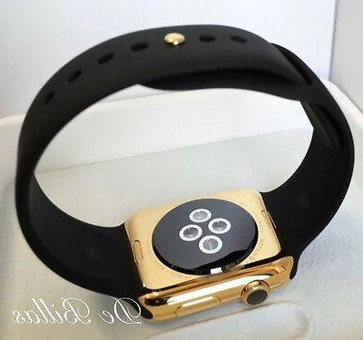24K Gold Plated Apple Watch 3 with Black Sport GPS+Cellular