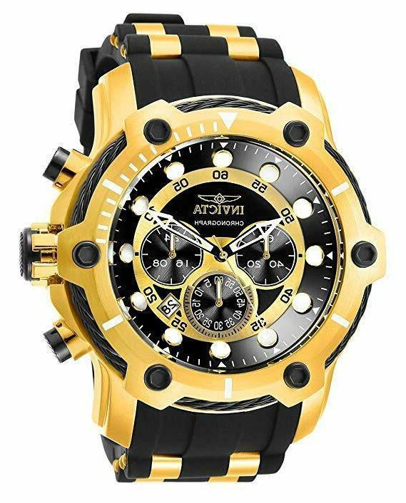 26751 bolt quartz chronograph black gold tone