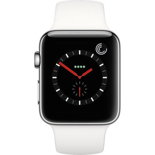 separation shoes 3019e f7a19 Apple Watch Series 3, 42MM, GPS + Cellular, Stainless Steel Case, Soft  White Sport Band