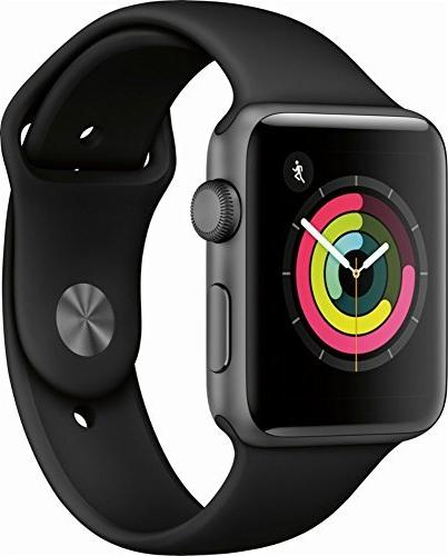 new style 80d20 d5b42 Apple Watch Series 3 , 42mm Space Gray Aluminum Case with Black Sport Band  - MQL12LL/A