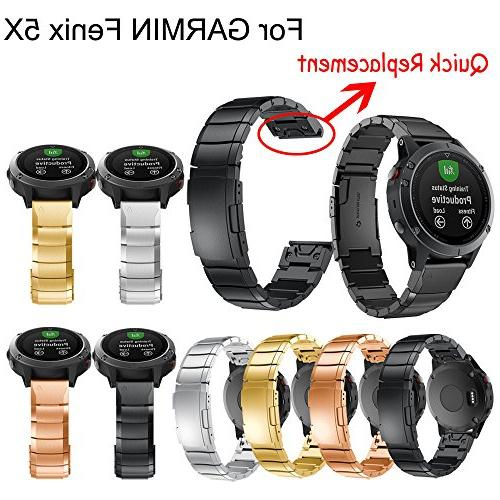 AutumnFall 5X Wristbands, Genuine Stainless Steel Bracelet Fit Band Strap Garmin Watch