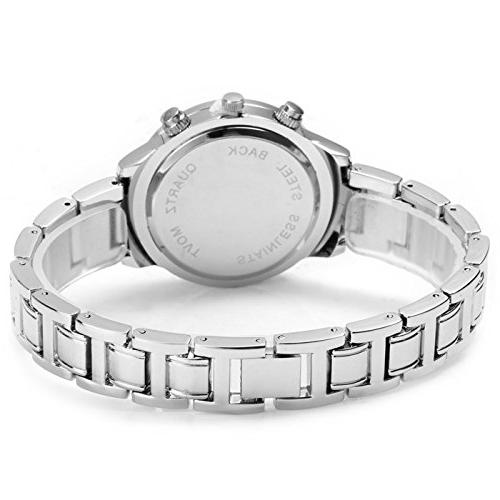 Watch with Rhinestone Dial Stainless Band Free women's Box