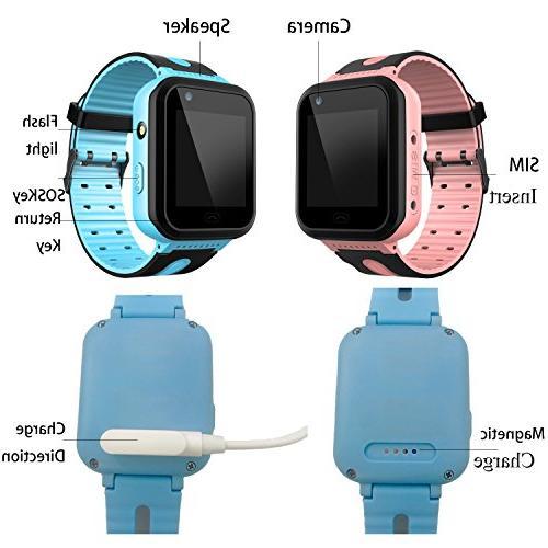 Kids Smart Watch - GPS Tracker Watch Digital Watch SOS Camera for Children Age 3-12 Boys iOS
