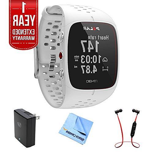 Polar M430 GPS Running Watch, White  w/ Extended Warranty Bu
