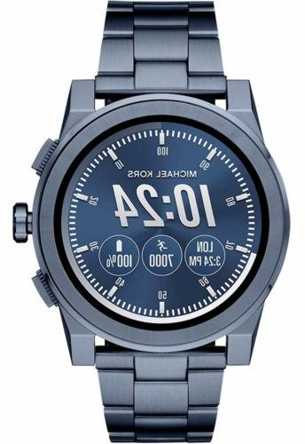 access mens smartwatch grayson navy tone stainless