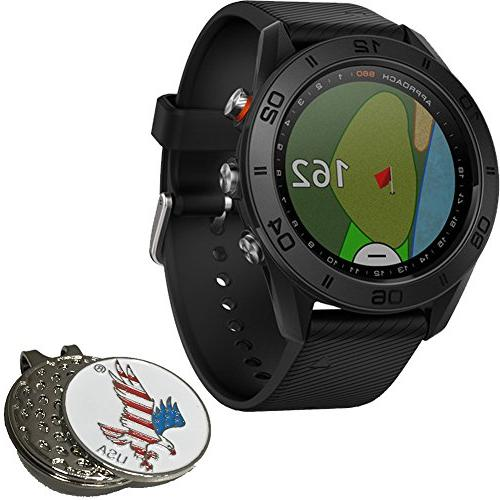 Golf GPS Watch, Charging Custom Ball Marker Set Black Silicone