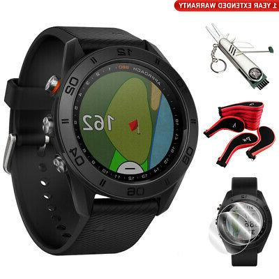 approach s60 golf watch black with black