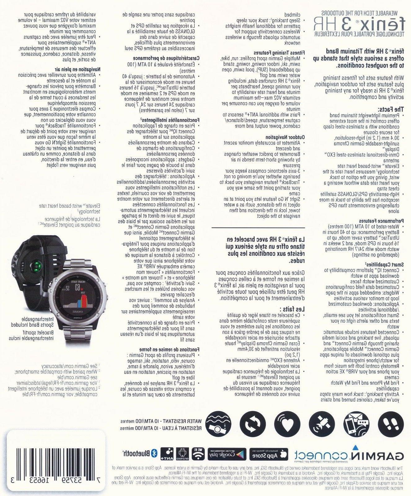 Garmin Fenix 3 HR Wrist Titanium GPS Smart NEW