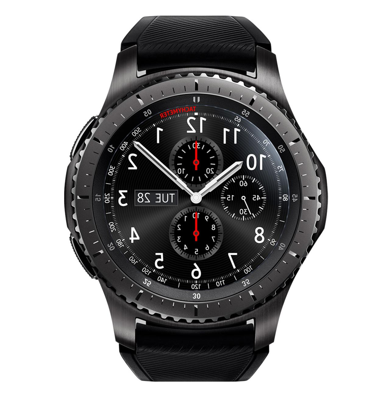 Samsung S3 Frontier Smart Stainless Steel Black Silicone Strap