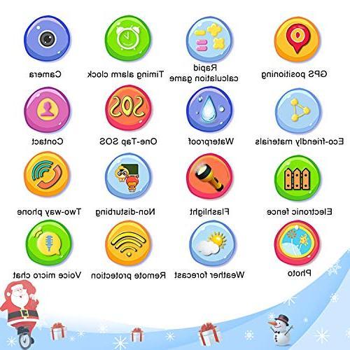iCooLive Kids Smart Phone IP68 Waterproof 3-14 Girls Screen Call Games Anti-Lost Wristband