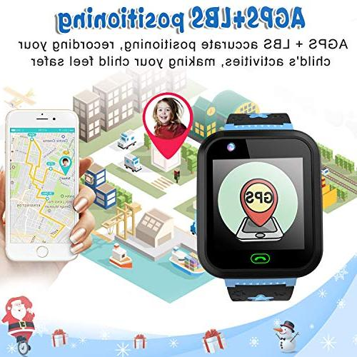 """iCooLive Phone with Tracker IP68 Waterproof 3-14 Girls Boys 1.44"""" Screen SOS Call Smartwatch Camera Games Alarm Clock Wristband"""