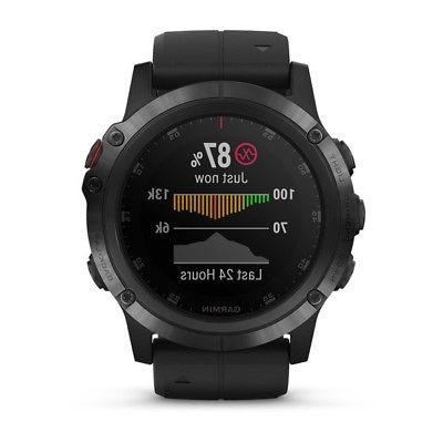 NEW Garmin Fenix 5x Plus watch HEART Monitor COLOR TOPO