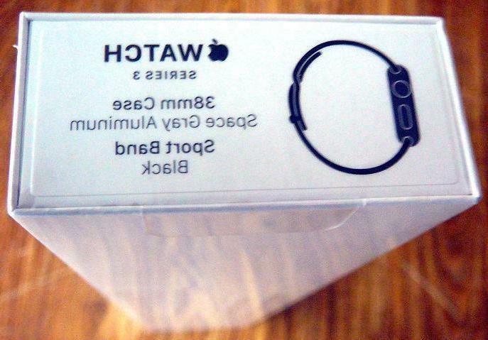 NEW Apple Watch Series 3 38mm Space Gray Case, Black Sport B