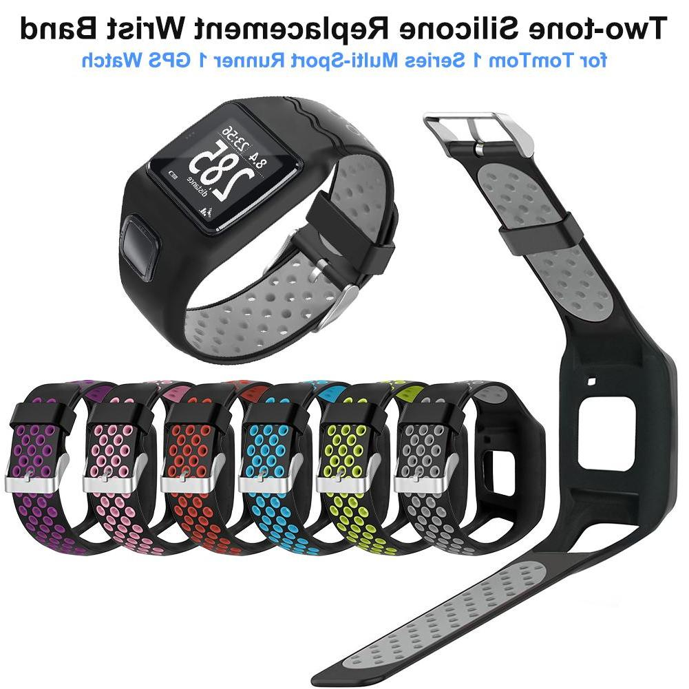 Two-tone Silicone Replacement Watchband Wrist Band Strap for