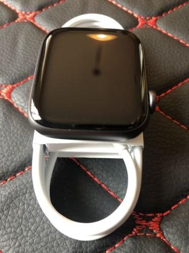 Apple Series 44mm Gray Case with Black Sport Band