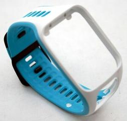 NEW OEM TomTom Slim Watch Strap SMALL Scuba Blue + White Spa