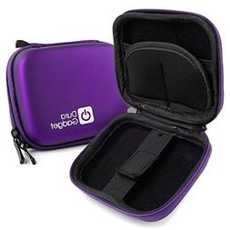 DURAGADGET Purple Hard EVA Shell Case with Carabiner Clip &