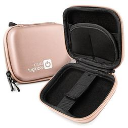 DURAGADGET Rose Gold Hard EVA Shell Case with Carabiner Clip