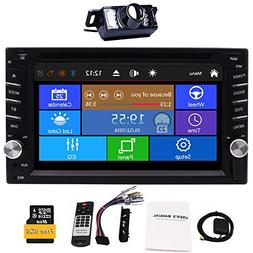 Upgrade Version with Camera!6.2' Double 2 Din Car DVD CD Vid