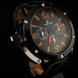 V6 Super Speed Fashion Men's Leather Strap Cool Big Dial Ora
