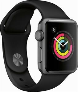Apple Watch Series 3 38MM Space Gray Aluminium Case with Bla